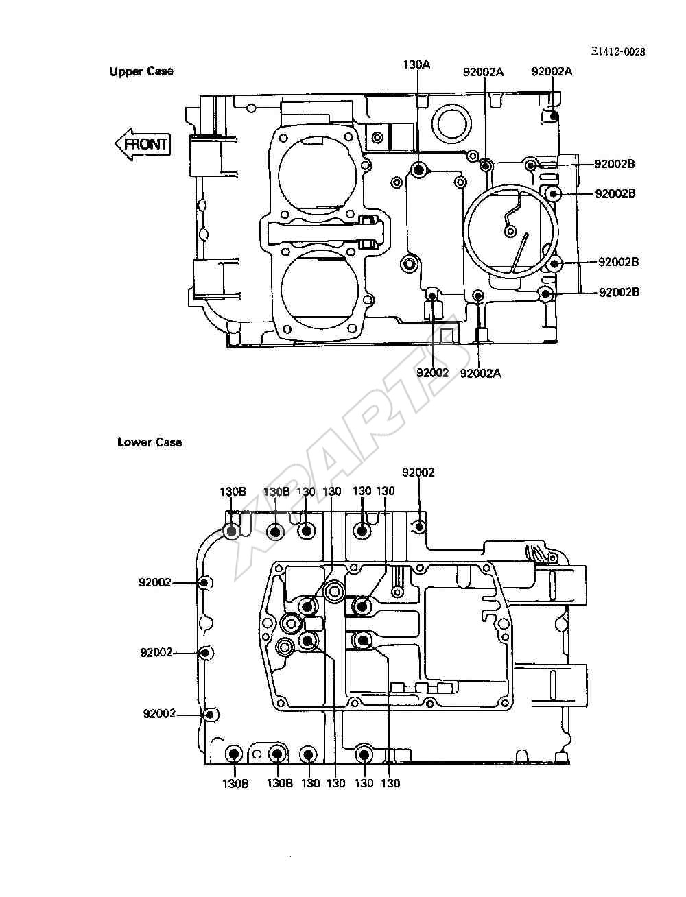 Kawasaki 454 LTD (EN450-A2) Crankcase Bolt Pattern (1986