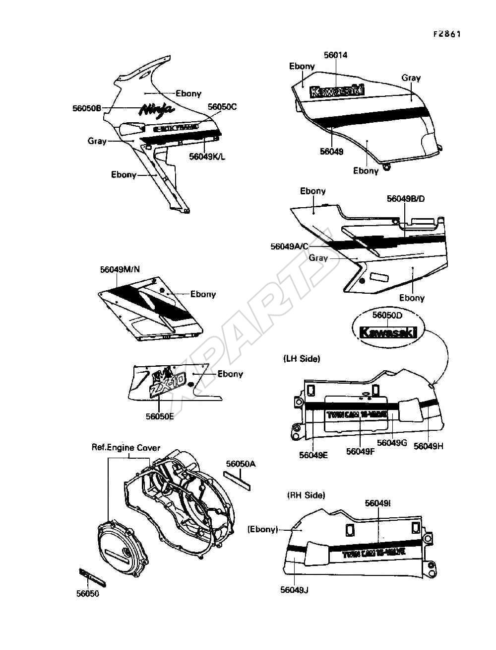 Kawasaki Ninja ZX-10 (ZX1000-B3) Decals (1990)