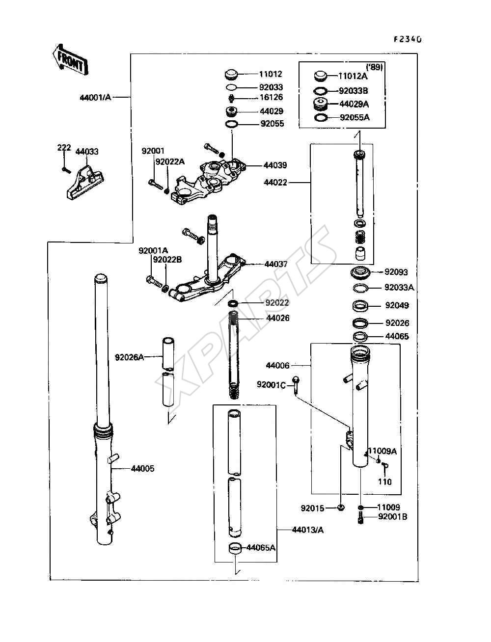 Kawasaki 454 LTD (EN450-A1) Front Fork (1985)