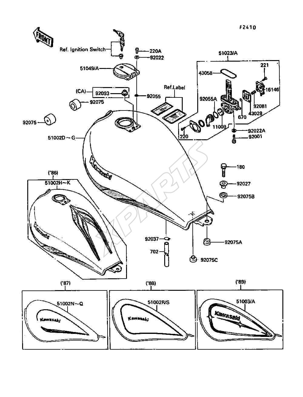 Kawasaki 454 LTD (EN450-A2) Fuel Tank (1986)