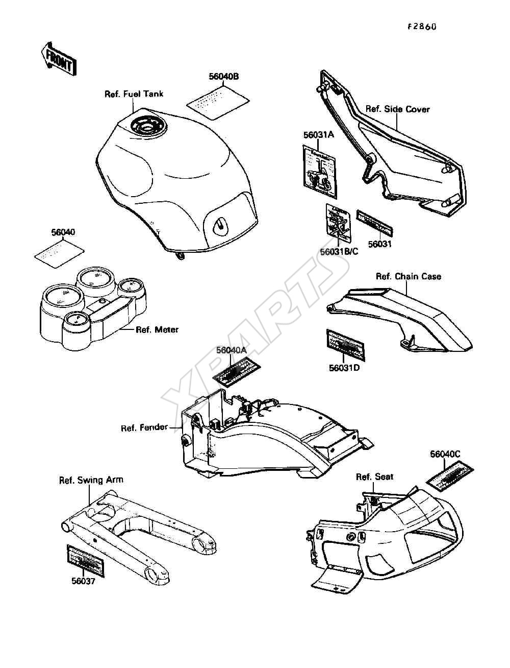 Kawasaki Ninja ZX-10 (ZX1000-B3) Labels (1990)