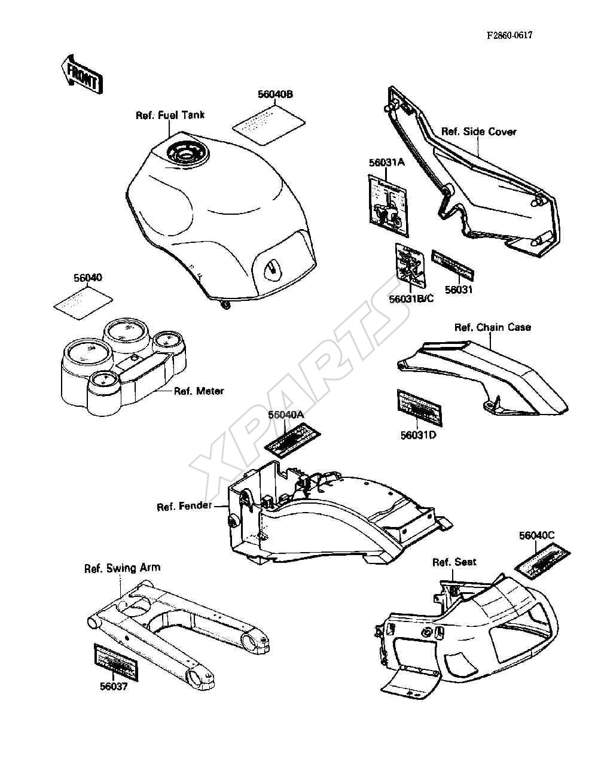 Kawasaki Ninja ZX-10 (ZX1000-B1) Labels (1988)