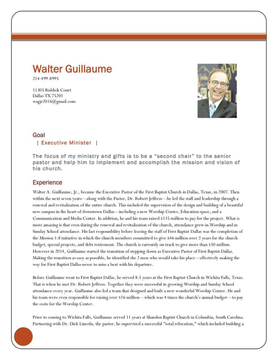 executive pastor resume sample