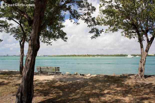 Haulover Beach Park , Favorite bench overlooking the Bal Harbour intercostal