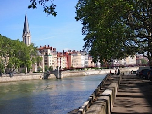 The River Saône with a view of Vieux Lyon