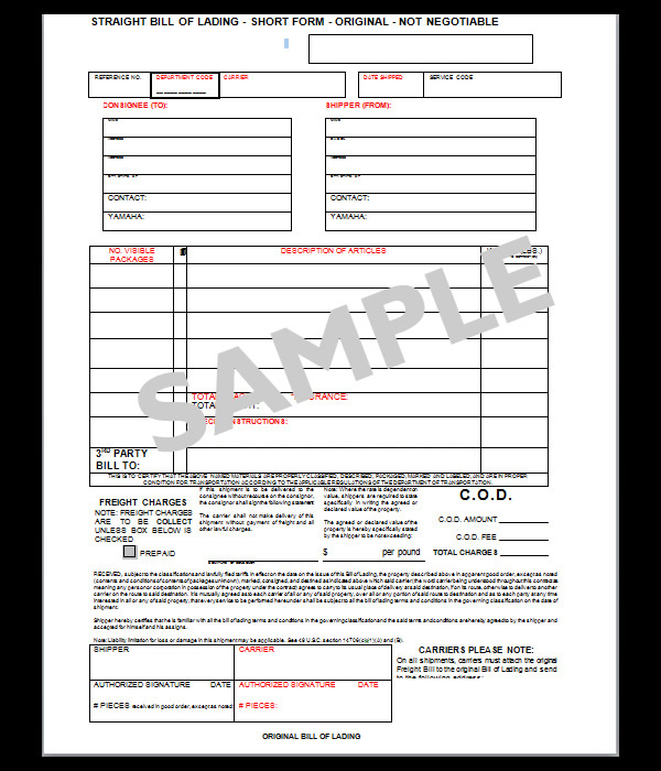 Blank Bol Form Printable Sample Blank Bill Of Lading Form