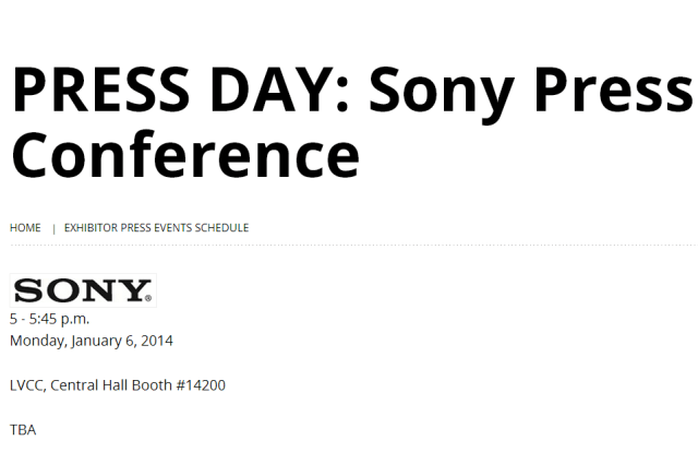 Sony's CES press conference takes place on 6 January 2014