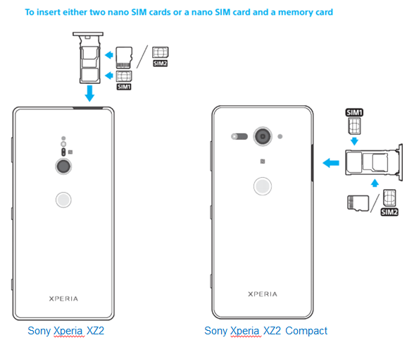 Dual-SIM Xperia XZ2 and XZ2 Compact have hybrid SIM trays