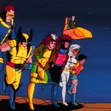 The X-Men as they appear in the 90s cartoon opening sequence.