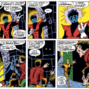 Here, Nightcrawler. Have a new mutation. And also I guess some more Leprechauns, because, why not? (X-Men #103)