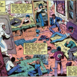 Based on the graffiti, this apartment was previously occupied by the 1970s Marvel bullpen. (X-Men #122)