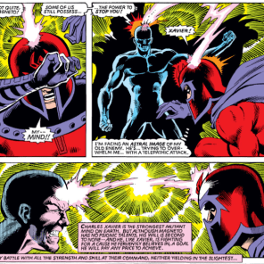 """If there were an X-Men drinking game, """"Dark City-style brain-ray psychic duel"""" would definitely be on the list. (X-Men #150)"""