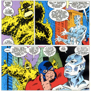 Beast and Iceman teach METOXO the true meaning of Christmas in the 1994 Marvel Holiday Special.