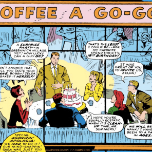 There are a lot of Coffee-a-Go-Go stories, but Bobby's 18th birthday, from X-Men #32, is probably the best.