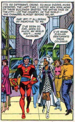 The lady in the fuchsia coat is hardcore judging you, Corsair. (Uncanny X-Men #155)