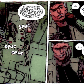 They do this gag like five times over the course of the issue, and it never stops being funny. (X-Men: Smoke and Blood #1)