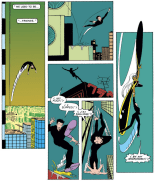 Look at that adorable Ninja meet-cute! Also: Pretty sure Smith is taking a cue from Miller with the sudden influx of vertical panels and silhouetted buildings. (Uncanny X-Men #172)
