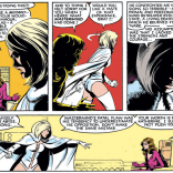 Have we mentioned that we love Emma Frost? We love Emma Frost. Also: Kitty's got a new costume. Drink! (New Mutants #16)