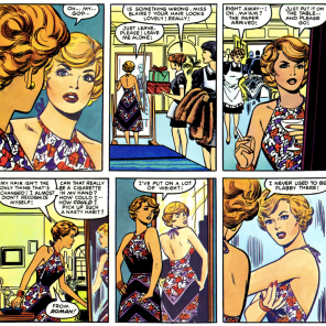 The really funny thing about this scene is that Frank Springer is apparently physically incapable of drawing women who don't look like fashion illustrations, so she's literally thinner here than in the earlier scene she's comparing herself to. (Dazzler: The Movie)