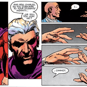 Didn't mention this in the episode, but it's kind of amazing how directly this penultimate scene visually echoes Xavier's earlier mid-brainwashing encounter with Stryker. (God Loves, Man Kills)