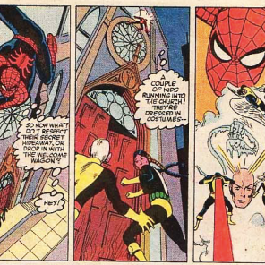 Spider-Man spends a lot of this issue lurking around and providing exposition. (Marvel Team-Up Annual #6)