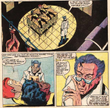 """How did you guess you were on a butcher block? I mean, aside from that it's a big square table and you're in a slaughterhouse and everything probably smells like blood and... NOPE! DEFINTELY SUPERPOWERS AT WORK!"" (Marvel Team-Up Annual #6)"