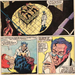 """""""How did you guess you were on a butcher block? I mean, aside from that it's a big square table and you're in a slaughterhouse and everything probably smells like blood and... NOPE! DEFINTELY SUPERPOWERS AT WORK!"""" (Marvel Team-Up Annual #6)"""