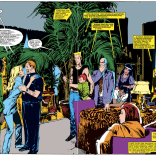 We're not sure whose fault they are, but we're really, really into the way some combination of Claremont, Orzechowski, and Sienkiewicz uses captions and arrows in this book in general, and this spread in particular. (New Mutants #25)