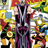 NOPE. Why wear a conservative suit to your trial when you could wear opera gloves and a sleeveless unitard with an M pointing directly to your crotch? (Uncanny X-Men #200)