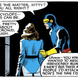 Pretty sure that last speech balloon was supposed to be Kitty's, not Scott's. (Uncanny X-Men #200)