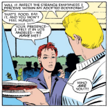 Not satisfied with his own series, the Beyonder derails someone else's. (Uncanny X-Men #196)