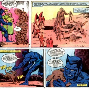 The end of the last issue of Defenders. Total downer (except for the puppy). (Defenders #152)