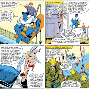 Three guys who definitely don't want to be superheroes anymore. (X-Factor #1)