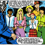 Love, love, love the way Mary Wilshire draws contemporary fashion--and uses it as a subtle storytelling element. (New Mutants #35)
