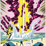 This is what happens when you flout FAA guidelines for the safe transport of Kirby dots. (Avengers #263)