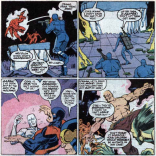 X-Factor: fighting themselves metaphorically AND literally! Side note: This scene is funny until you realize X-Factor is turning Bulk and Glow Worm's last desperate attempt to make a difference before their inevitable death into a farce. (X-Factor #7)
