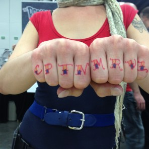 I also did a bunch of sharpie knuckle tattoos, but only remembered to document two. CPTN MRVL!