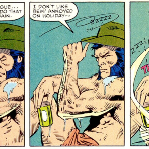 Let's all take a moment to appreciate the fact that Wolverine is wearing a cowboy hat with his swim trunks. (X-Men vs. Avengers #1)