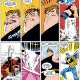 A moment of slapstick in the midst of the high-stakes drama. (Uncanny X-Men #225)