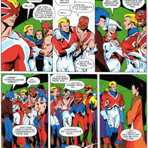WHY DOES NO ONE EVERY GROUP-COSPLAY THE CAPTAIN BRITAIN CORPS? Maybe they do in the U.K. We fervently hope so.