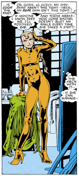 """No one can move in Rachel's costume except Rachel"" is going to become a running joke over the course of the series. (Excalibur #1)"