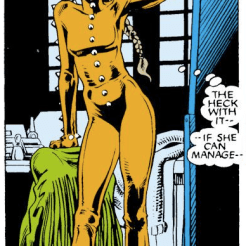 """""""No one can move in Rachel's costume except Rachel"""" is going to become a running joke over the course of the series. (Excalibur #1)"""