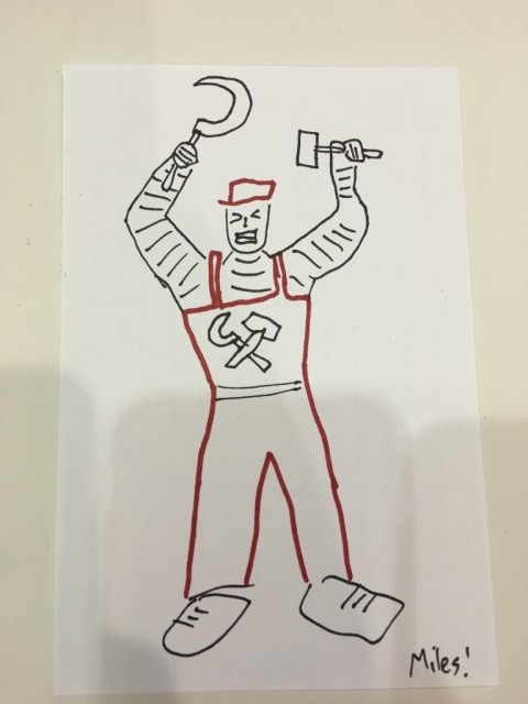 Miles technically drew this Proletarian yesterday, but he just sent me the photo, so.