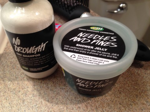 Lush stuff I tried today! Needles and Pines Shower Jelly smells like camping, but not unpleasantly so; and  No Drought dry shampoo is my new best convention friend forever.
