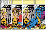 The many faces of Meggan (and some slightly disastrous sound effects from Brian). (Excalibur #9)