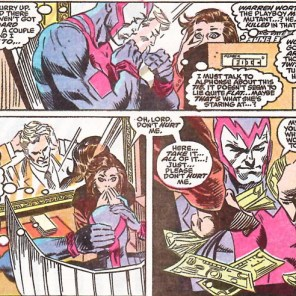 Accidental bank robbery: one of Jay's favorite tropes. Also, the whole mirror thing is drawn really nicely. (X-Factor #57)