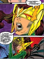 Please note that Cannonball is stealing a key from Dragoness's headdress in the bottom panel. With his hair, I guess? (New Mutants #94)