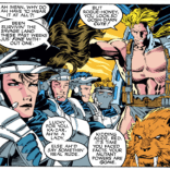"Please note that: A) Ka-Zar is calling Rogue ""Red"" despite the fact that her hair is clearly brown. B) A mostly-naked man and his tiger buddy are clearly not REMOTELY the weirdest things those S.H.I.E.L.D. troops have shared a transport with. (Uncanny X-Men #275)"