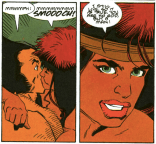 Gahck is awesome. In other news, I'm really upset about the vertical spacing in that third balloon. (Wolverine: The Jungle Adventure)