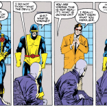 You know it's an illusion because none of them is wearing a plaid suit. (Excalibur #52)